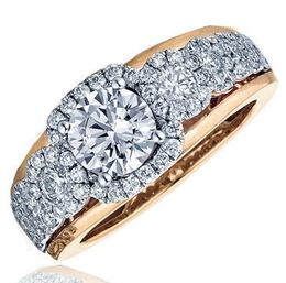Frederic Sage Multi Round Diamond Halo Rose Gold Engagement Ring image 2