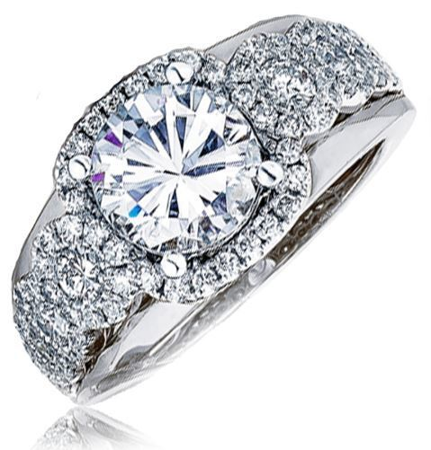 Frederic Sage Wide Multi Round Diamond Halo White Gold Engagement Ring image 2