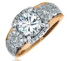 Frederic Sage Wide Multi Round Diamond Halo Rose Gold Engagement Ring image 2
