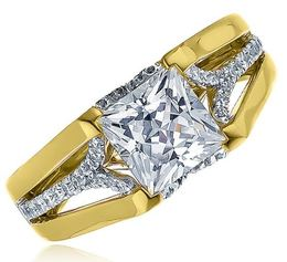 Fredrick Sage Princess Cut Two Tone Engagement Ring image 2