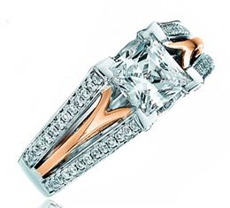 Frederic Sage Princess Cut Diamond Rose Gold Cathedral Engagement Ring image 2
