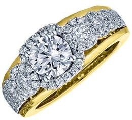 Frederic Sage Multi Round Diamond Halo Two Tone Engagement Ring image 2