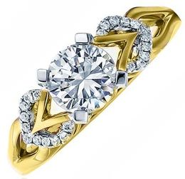 Frederic Sage Round Two Tone Diamond Heart Engagement Ring image 2