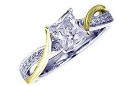 Frederic Sage Princess Cut with Yellow Gold Twist Engagement Ring image 2