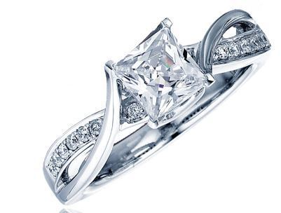 Frederic Sage Princess Cut with White Gold Twist Engagement Ring image 2