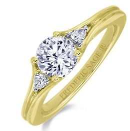 Frederic Sage Round Three Stone Yellow Gold Engagement Ring image 2
