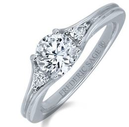 Frederic Sage Round Three Stone White Gold Engagement Ring image 2