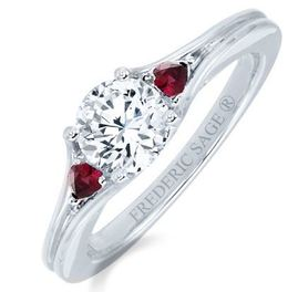 Frederic Sage Round Diamond and Ruby Engagement Ring image 2