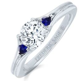 Frederic Sage Round Diamond and Sapphire Engagement Ring image 2