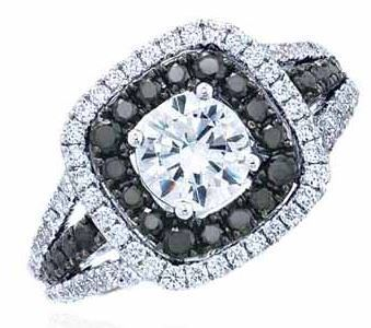 Frederic Sage Round Double Halo With Black Diamonds Engagement Ring image 2