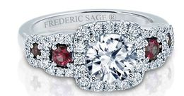 Frederic Sage Round Triple  Diamond Halo With Rubies Engagement Ring image 2