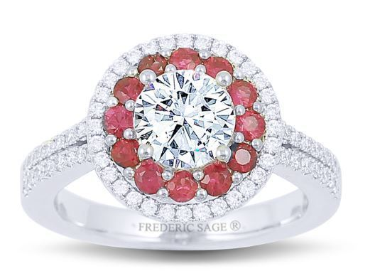 Frederic Sage Round Double Halo with Rubies Engagement Ring image 2