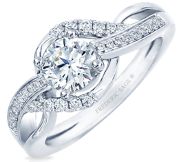 Frederic Sage Round Halo Twist Engagement Ring image 2