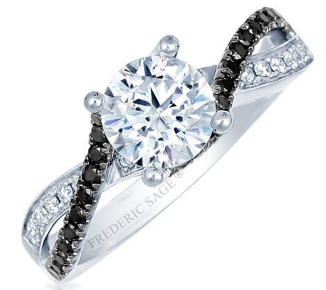 Frederic Sage Round With Black Diamond Twist Engagement Ring image 2