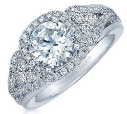 Frederic Sage Round Halo With Heart Shape Sides Engagement Ring image 2