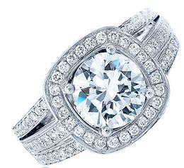 Frederic Sage Round Halo Wide Triple Diamond Engagement Ring image 2