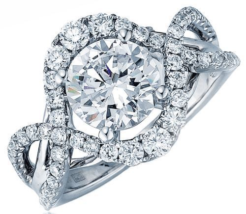 Frederic Sage  Round Wide Halo Twist Engagement Ring image 2