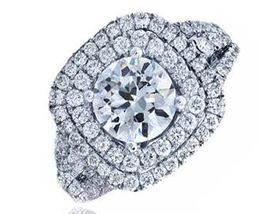 Frederic Sage Round Wide Double Halo Engagement Ring image 2