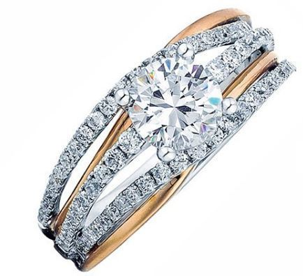 Frederic Sage Rose Gold Round Open Shank Engagement Ring image 2