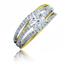 Frederic Sage Two Tone Round Open Shank Engagement Ring image 2
