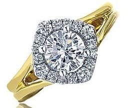 Frederic Sage Yellow Gold Round Halo Open Shank Engagement Ring image 2