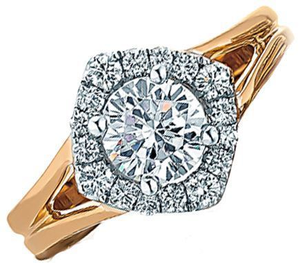 Frederic Sage Rose Gold Round Halo Open Shank Engagement Ring image 2