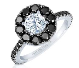 Frederic Sage Round Black Diamond Halo Engagement Ring image 2
