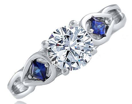 Frederic Sage Round Diamond With Blue Sapphires Engagement Ring image 2