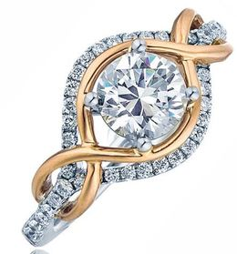 Frederic Sage Round All Seeing Double Diamond And Rose Gold Halo Engagement Ring image 2