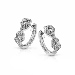 Simon G 18K White Gold Diamond Hoop Earrings TE473 image 2