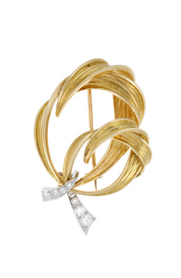 Elegant Vintage Estate Gold and Diamond Brooch image 2