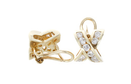 Estate Gold and Diamond Earrings image 2