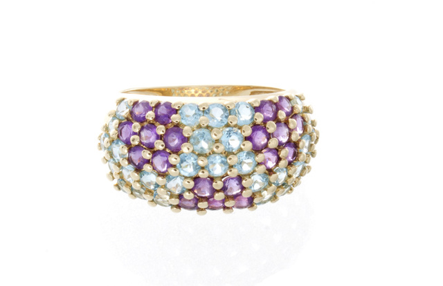 Estate Blue Topaz and Amethyst Ring image 2