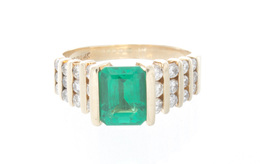Estate Synthetic Emerald and Diamond Ring image 2