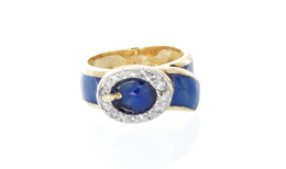 Estate Blue Enamel and Diamond Buckle Ring image 2