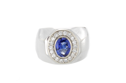Estate Men's Tanzanite and Diamond Ring image 2