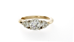 Estate Three Stone Diamond Ring image 2