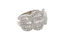 Estate Baguette and Round Diamond Ring image 2