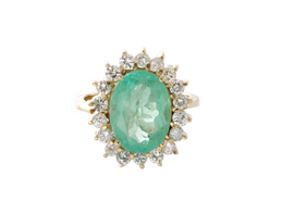 Estate Emerald and Diamond Ring image 1