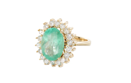 Estate Emerald and Diamond Ring image 2