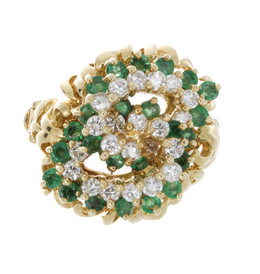 Estate Intertwined Emerald and Diamond Ring image 2
