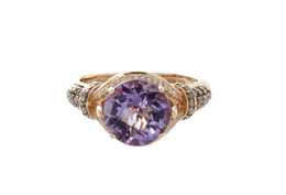Estate Levian Amethyst Ring with Cognac and White Diamonds image 2