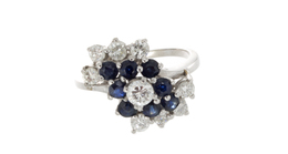 Estate Sapphire and Diamond Ring in White Gold image 2