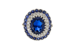 Estate Synthetic Sapphire and Diamond Ring image 2