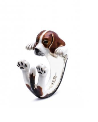 Beagle Dog Breed gifts for pet owners Dog Fever Enameled Beagle hug ring