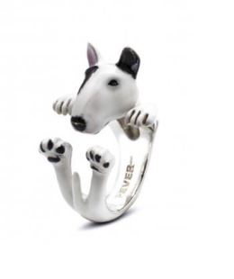 Bull Terrier dog owner pet lover gift hug ring sterling silver color enamel portrait
