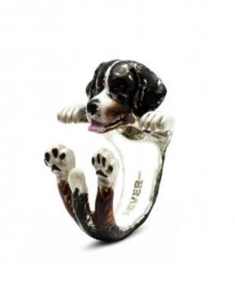 Bernese Mountain Dog gift for pet owners hug ring in color enamel of miniature Bernese dog pet portrait