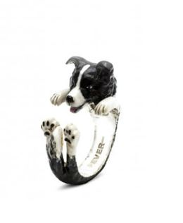 Border Collie dog fever ring a great gift dog pet owners handmade sterling silver enamel jewelry