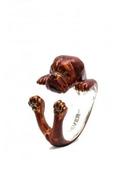 Dogue De Borseaux dog owner ring of fine quality sterling silver enamel