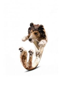 Dog Fever color enamel sterling silver hug ring of Collie dog breed. The perfect gift for Collie dog pet owners.